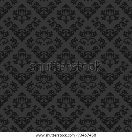 Detailed retro design in elegant curves. Dark pattern on gray base. - stock photo