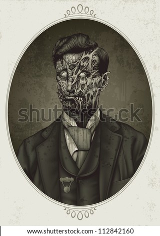 Detailed sepia toned vector illustration of a late 19th century zombie woman dressed in typical colonial attire. Face decay exposes muscle tissue under torn, rotting flesh. - stock photo