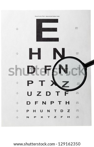 Detailed shot of white eye test chart and magnifying glass on white background. - stock photo