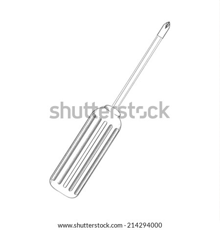 Detailed sketch  screwdriver. Illustration. - stock photo