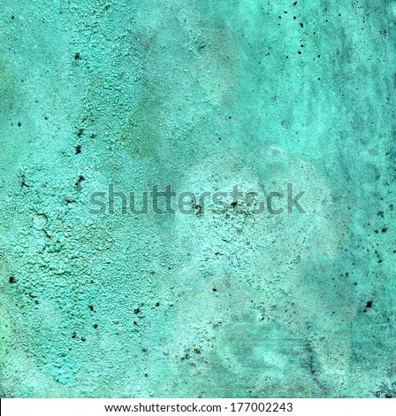 Detailed texture of copper with a blue-green patina