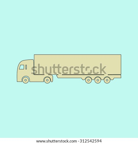 Detailed trucks silhouettes. Flat simple line icon. Retro color modern illustration pictogram. Collection concept symbol for infographic project and logo  - stock photo