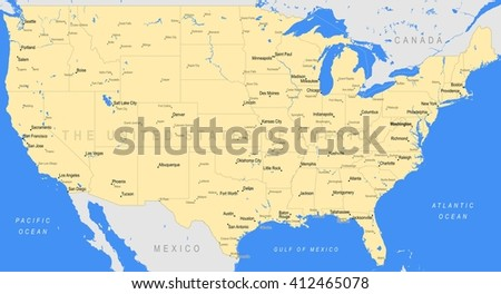 Detailed United States of America map | A large color map of the USA - stock photo