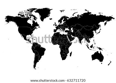 Detailed Vector World Map High Resolution With The Borders Of States.
