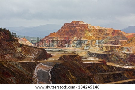 Detailed view of copper mine open pit in Rio Tinto, Spain - stock photo