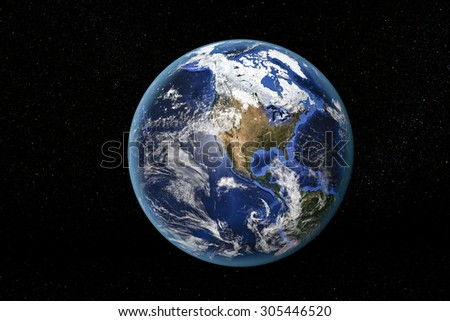 Detailed view of Earth from space, showing North America. Elements of this image furnished by NASA - stock photo
