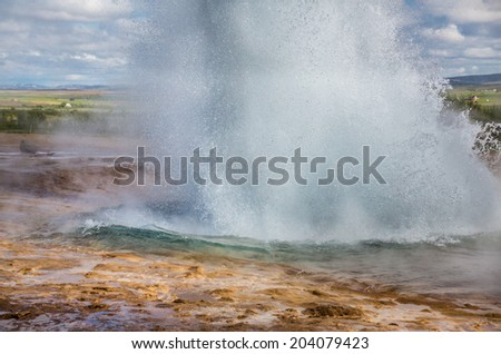 Detailed view of emerging Geyser in Iceland
