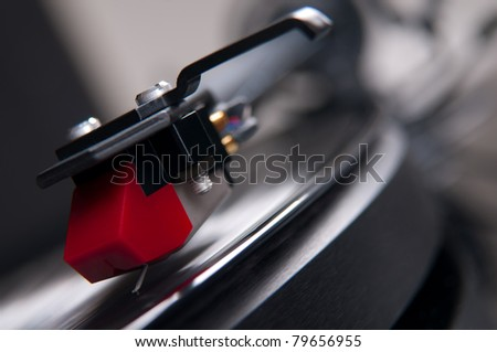 detailed view of gramophone tracker - stock photo