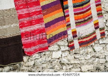 Detailed view of handmade rugs in la Alpujarra, Capileira, Spain - stock photo