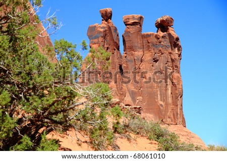 Detailed View of rocks at Arches National Park  (3 kings) - stock photo