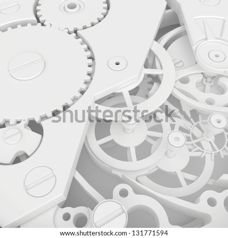 detailed view of the clock mechanism - stock photo