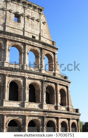 Detailed view of the Colosseum in Rome, Italy