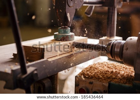 Detailed view of the drill when working in carpentry - stock photo