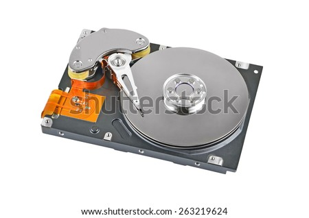 Detailed view of the inside of a hard disk drive (HDD) - stock photo
