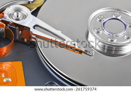 Detailed view of the inside of a hard disk drive (HDD), DOF - stock photo