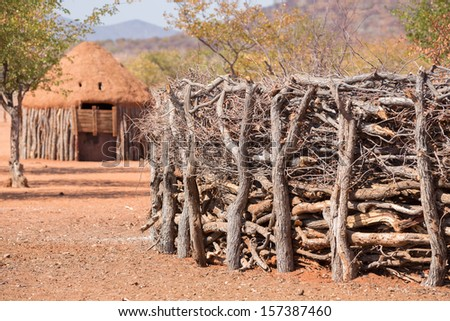 Detailed view of traditional hut wall of himba people in Namibia - stock photo