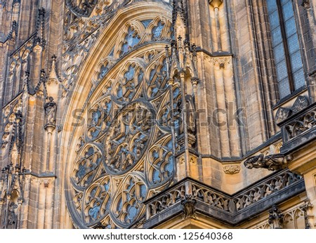 Detailed view on gothic mosaic round window of St. Vitus cathedral in Prague Castle in Prague, Czech Republic