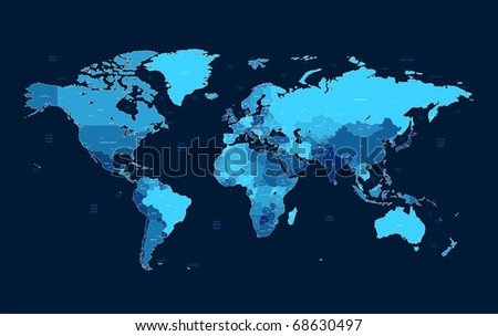 Detailed World map of blue colors on dark background. Raster version. Vector version is also available. - stock photo