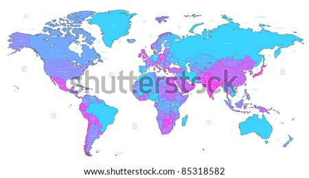Detailed World map of blue, pink, violet colors. Raster version. Vector version is also available.