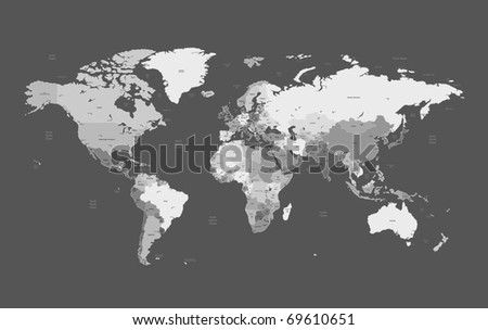 Detailed World map of gray colors. Raster version. Vector version is also available. - stock photo