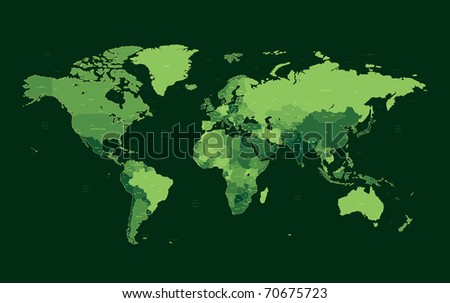 Detailed World map of green colors. Raster version. Vector version is also available. - stock photo