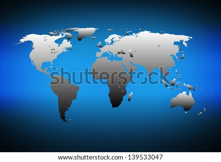 Detailed world map on dark blue background