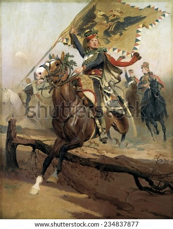 DETAILLE Jean-Baptiste Edouard (1848-1912), Hussar with the n flag, 2nd half 19th c. Oil on canvas,