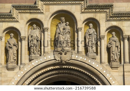 Details above the entrance to the great cathedral of Speyer of Germany - stock photo