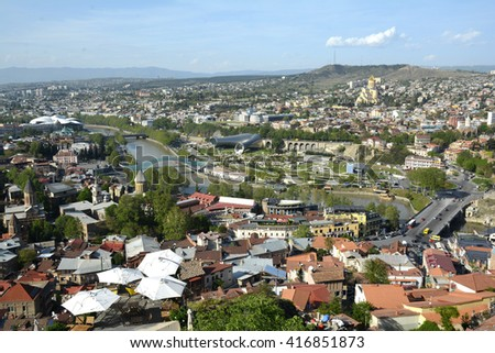 details and features of Georgia of Tbilisi in the summer