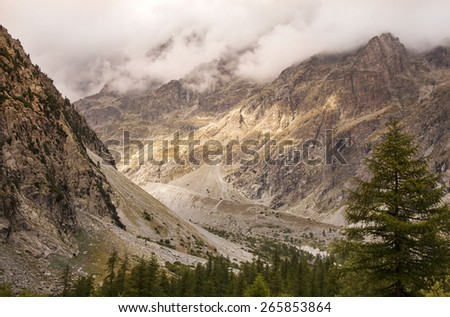 Details and rocks in a high mountain - stock photo