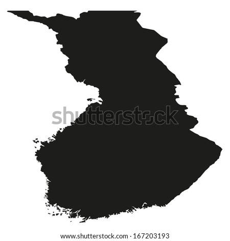 Details Black and White Country Shape of Finland