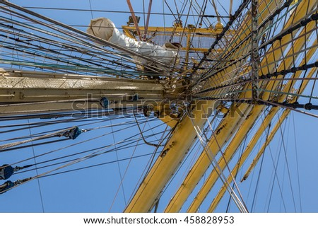 details equipment of ship on deck. different elements sailboat rigging