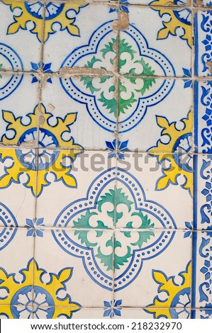 Details from a wall in Lisbon - stock photo