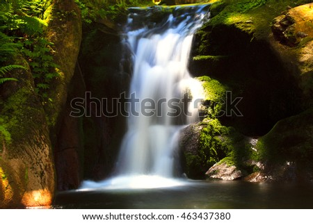 details from small waterfall in autumn forest