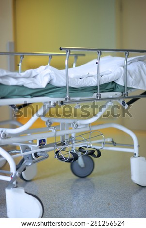 Details of a adjustable medical bed with rails - stock photo