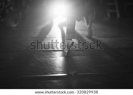 Details of a ballet dance in the spotlight - stock photo