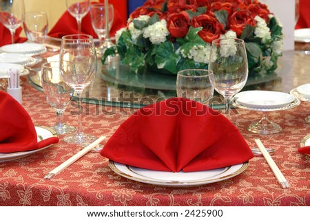 Details of a chinese wedding banquet table setting & Details Chinese Wedding Banquet Table Setting Stock Photo (100 ...