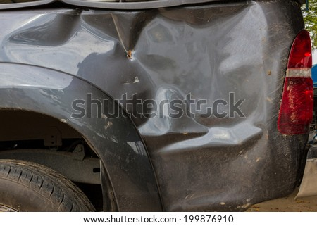 Details of a crash car an accident. - stock photo