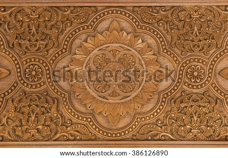 Details of a fine wood carving art. An Islamic art and craft. - stock photo
