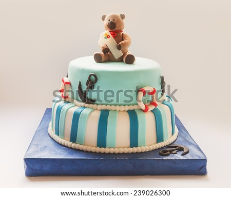 Details of a first year birthday cake in blue, for boy.  - stock photo