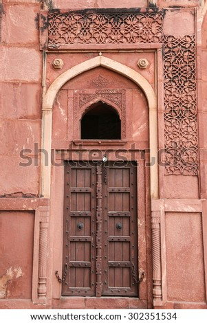 Details of a palace, Agra fort, India - stock photo
