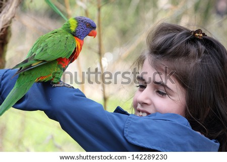 Details of a rainbow lorikeet perched on a the arm of a young girl.