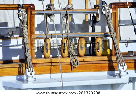 details of a sailing ship - stock photo
