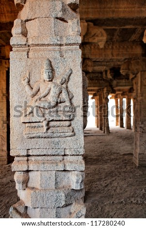 Details of a temple, Hampi, Karnataka state, India - stock photo