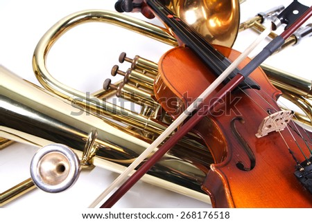 Details of a violin and a trombone - stock photo