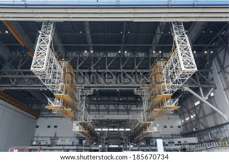 Details of aircraft hangar  - stock photo