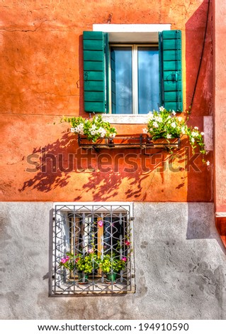 details of an old building at Venice Italy. HDR processed - stock photo