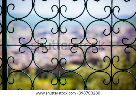 Details of an old fashioned metal fence - stock photo