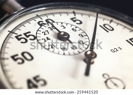 Details of an old, retro style, Russian stopwatch.  - stock photo
