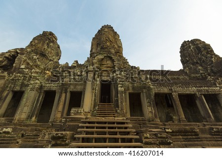 Details of ancient architecture at Angkor Wat temple, Siem Reap province. Unesco heritage site in Cambodia - stock photo
